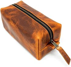Leather Dopp Kit, Men's Brown Leather Travel Kit, Monogrammed Toiletry Bag, Horween Leather Travel Case Made In The USA