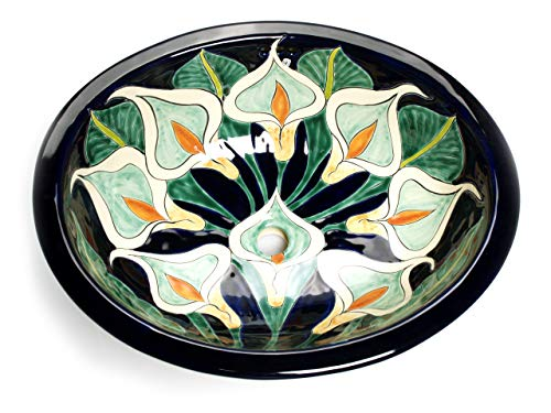 Calia - Mexikanisches Ovales Waschbecken | Oval Einbauwaschbecken mit Rand | Keramik Talavera Einbau/Unterbau Waschbecken aus Mexiko
