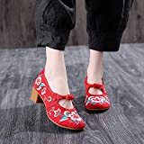 RHH Shop Bordado Mujer Lienzo Tachonado Med Tacones Zapatos Damas algodón Bordado Bocas de Bloques de Beijing Viejo (Color : Red, Size : 40)