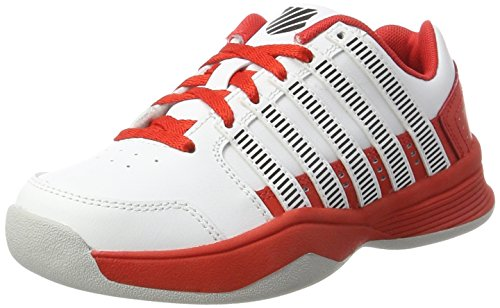 K-Swiss Performance Unisex-Kinder Court Impact LTR Carpet Tennisschuhe, Weiß (White/Fiery Red/Black), 35.5 EU