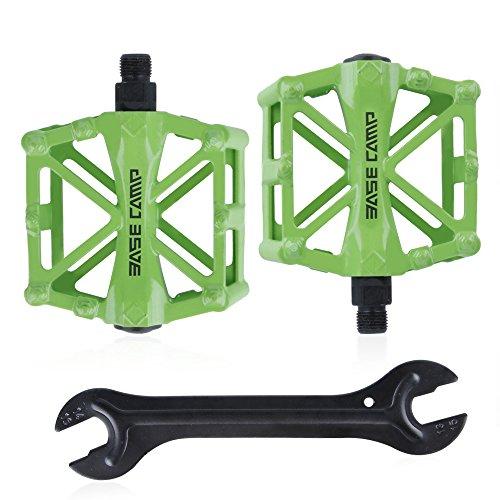 GoingMen Fahrrad Radfahren Bike Pedale, Neue Aluminiumlegierung Anti Skid Mountain Pedale für 9/16 Zoll mit kostenloser Installation Tool-Green