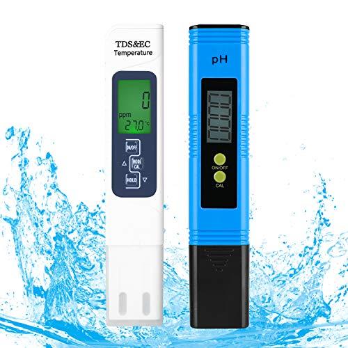 FEMOR pH Messgerät TDS Messgerät EC & Temperatur Messgerät 4 in 1 Wasserqualität Tester(ATC) für Aquarium Schwimmbad Trinkwasser Leitwertmessgerät mit Höhe Genauigkeit LCD Anzeige Kalibrierung