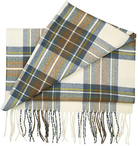 2 PLY 100% Cashmere Scarf Nova Check Collection Made in Scotland Warm Soft Wool Solid Tartan Buffalo Square Plaid Men Women