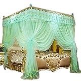 KingKara White Pink Purple Princess 4 Corners Post Bed Curtain Canopy Mosquito Netting Twin XL, Full/Queen, California King Size (Full/Queen, Water Green)