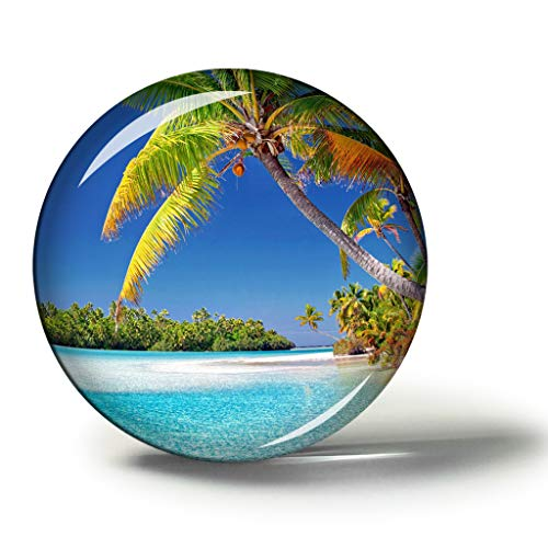 Hqiyaols Souvenir Islas Cook Rarotonga Imanes Nevera Refrigerador Imán Recuerdo Coleccionables Viaje Regalo Circulo Cristal 1.9 Inches