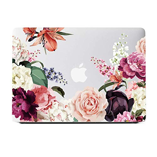 Lapac MacBook Air 13 Inch Clear Case A1932 A2179 2020 2019 2018, Floral Macbook Air 13 Case with Rose Flower, Soft Touch Hard Shell Case & Retina Display Fits Touch ID with Keyboard Cover(A2179/A1932)