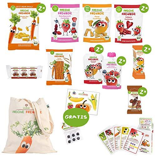 Freche Freunde Reise-Paket für lange Reisen mit Kindern, Bio Kindersnacks für Kinder aus Obst & Gemüse, ohne Zuckerzusatz, plus Freche Freunde Quartett