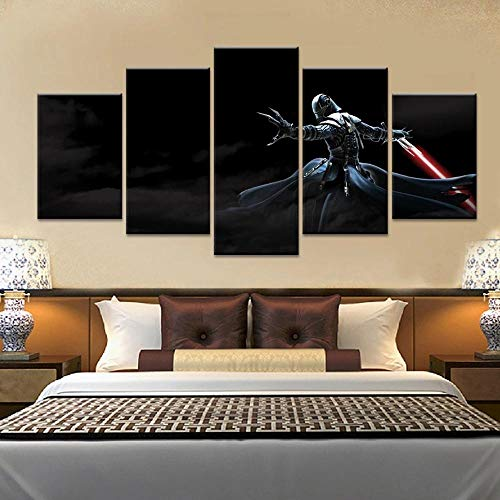 KOPASD 5 Piezas Lienzos Wall Cuadros Star Wars The Force Unleashed: Ultimate Sith Road Módulo De Decoración del Hogar Cartel para Sala De Estar (Sin tamaño de Marco 150x80cm)