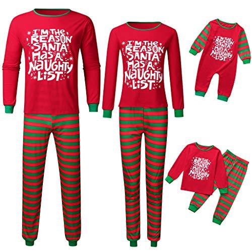 LANSKIRT Unisex Pijamas Navidad Familiapara Papá Mamá y Bebe Regalo Estampado de Navidad Manga Larga Tops y Pantalones 2 Piezas Padres e Hijos Niño Pijama Navideño Bebe
