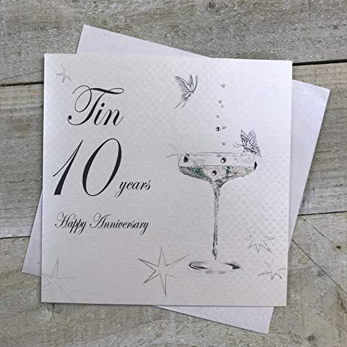 WHITE COTTON CARDS - Biglietto D'Auguri Per 10° Anniversario Di Nozze, Fatto A Mano, Con Scritta In Lingua Inglese, Colore Bianco