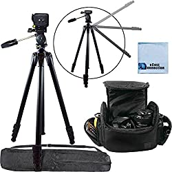 80 Inch Elite Series Professional Heavy Duty Camcorder Tripod + Digital Camera / Video Padded Carrying Case, Large (Black) For Canon VIXIA XF205, XA25, XA20, XF300, XC10, EOS C100 Mark II, XC10, EOS C100, C300 Mark II,