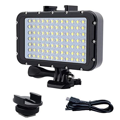 Luce Subacquea LED per GoPro Canon Nikon Pentax Panasonic Sony Fotocamere reflex Samsung,84 LED ad alta potenza dimmerabile LED