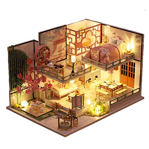 Fsolis DIY Dollhouse Miniature Kit with Furniture, 3D Wooden Miniature House with Dust Cover and Music Movement, Miniature Dolls House kit (JM32)