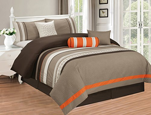 All American Collection New 7 Piece Embroidered Over-Sized Comforter Set (King, Taupe/Orange)