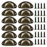 12 Piezas Tiradores de Metal Vintage Bronze Manillas Tirador Concha para Puertas de Cajones Retro Tire Pomos de Forma de Carcasa Perilla del Cajón del Gabinete con Tornillo para Armario Cajón Muebles