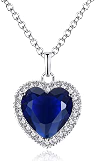 Titanic Heart of the Ocean Neckalce, AILUOR Silver Necklace Pendants Jewelry Mother's Day Gift