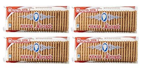 4x 250g Original Miranda Kekse aus Griechenland 1000g Papadopoulos Kekse Biscuits Frühstück Gebäck + 10ml Probiersachet kretisches Olivenöl