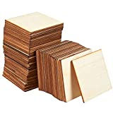 Unfinished Wood Pieces - 60-Pack 3x3' Wooden Squares Cutout Tiles, Natural Rustic Craft Wood for Home...