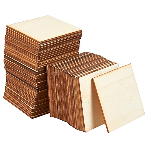 Wooden Cutouts for Crafts, Wood Squares (3 x 3 In, 60 Pieces) (Best Way To Cut Mdf Shapes)