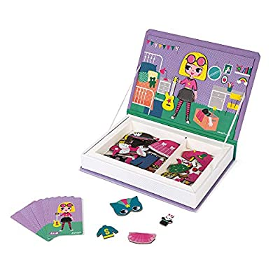 Janod MagnetiBook 55 pc Magnetic Girl Costumes Dress Up Game for Imagination Play - Book Shaped Travel/Storage Case Included - S.T.E.M. Toy for Ages 3+ by Juratoys US Corp