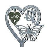 1 targa commemorativa a forma di cuore con farfalla ornamento per la festa della mamma del papà o per la tomba del giardino