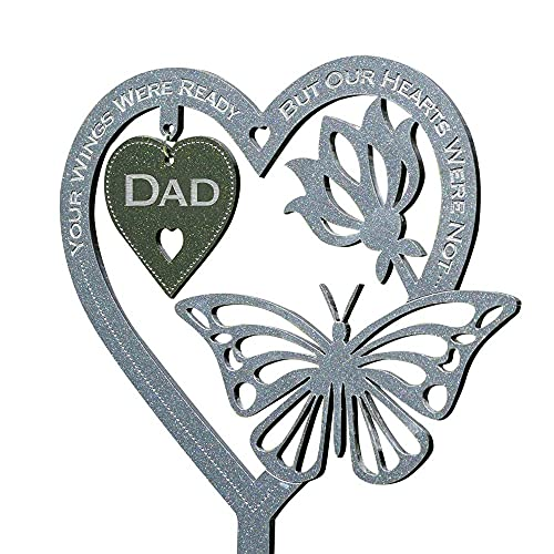 1PCS Memorial Gift Heart-Shape Butterfly Ornament Plaque with Stake Great for Mother Father's Day Grave Garden Decoration