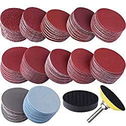 """Practial sanding discs set - come with 300 pieces sanding disc pads in 10 grits, 30 pieces for each grit: 80/ 180/ 240/ 320/ 400 /600 /800 /1000 /2000 /3000; 1pc 1/4"""" shank backing pad and 1pc soft foam buffering pad, large quantity to meet your diff..."""