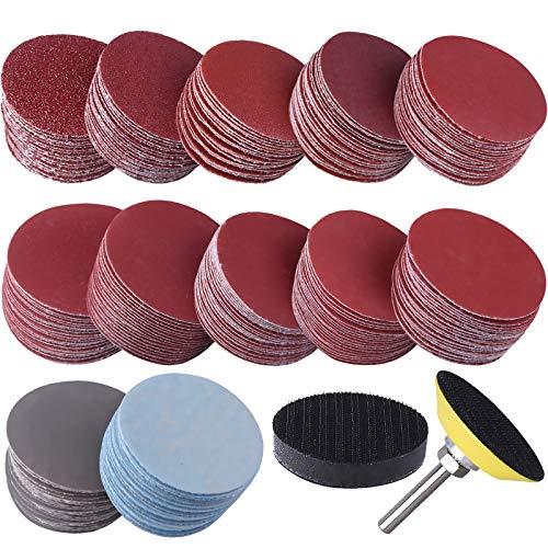SIQUK 300 Piezas Discos de Lijado de 50mm Discos Hook and Loop Grano 60 80 120 180 240 400 600 800 1000 1200 1500 2000 3000