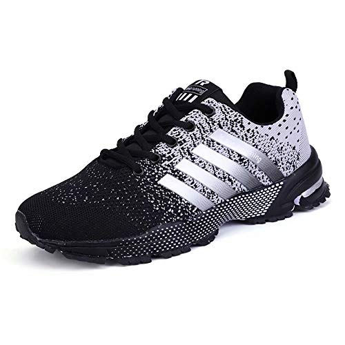 GSLMOLN Tennis Hombres Shoes for Men Slip on Comfort Lightweight Breathable Best Running Walking Fitness Sports Gym Training Run Workout Sneakers Snickers for Male BlackGrey 42