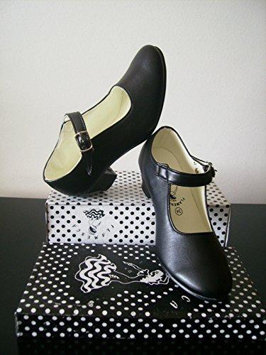 Flamenco - Zapatos para nia sevillano (41, negro)