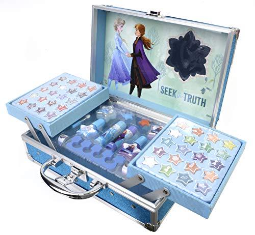 Frozen II Schminkkoffer mit wasserlöslicher Kinderschminke im Anna & Elsa Design, Haarschmuck, Ringe, Glitzer, Lipgloss und Lidschatten, inklusive verschiedener Pinsel und Spiegel