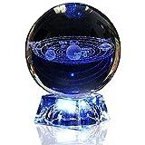 3D Bola Cristal Solar Sistema con Base Led K9 Cristal Transparente 80mm Bola Cristal Planeta Transparente, Modelo Cósmico para decoración del hogar,Decoracion Oficina