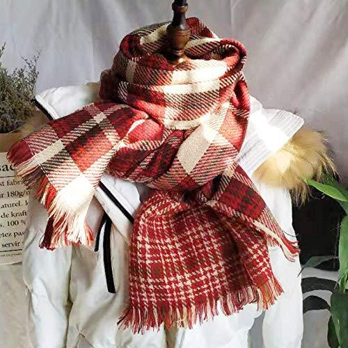 B/H Cozy Moda Bufandas Largas de Chal Cálido,Bufanda a Cuadros de Doble Cara en otoño e Invierno,Chal cálido y grueso-08,Bufanda Fular Modernas