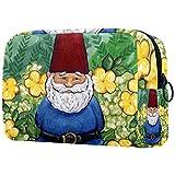 Kosmetiktasche Reise Kosmetiktasche Tasche Geldbörse Handtasche mit Reißverschluss - Gartenzwerg Frühling Sommer gelbe Blume