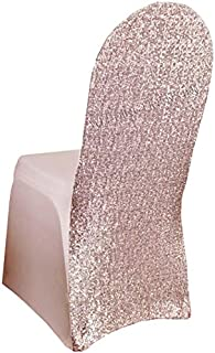 Wedding Linens Inc. Spandex Banquet Stretch Fitted Sequin Chair Cover Lycra Chair Covers for Restaurant Kitchen Dining Wedding Party Banquet Events - Blush Pink