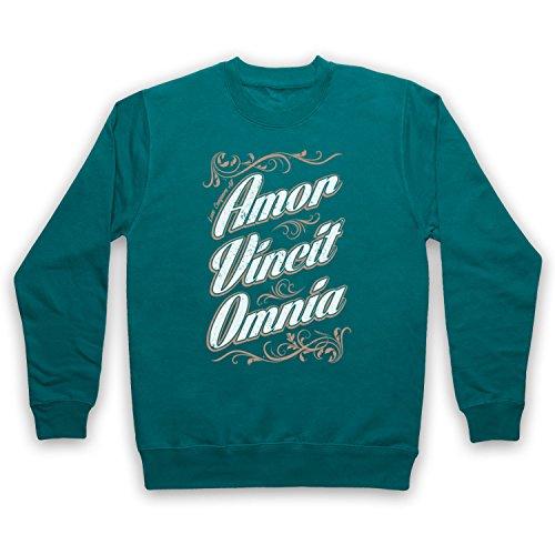 My Icon Art & Clothing Amor Vincit Omnia Love Conquers All Adulti Felpa Verde giada XL/petto 122 cm- 127 cm