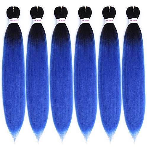 Pre Stretched Braiding Hair Ombre Blue Braiding Hair 24inch 6 Pack Professional Kanekalon Braiding Hair Pre Stretched Hair Extenions For Beautiful Women (1BBlue)