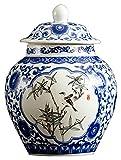 Frascos de almacenamiento cerámico, jarrón de jengibre de jengibre de cerámica de porcelana floral azul y blanco, adornos de cerámica pintados a mano, contenedores de almacenamiento decorativos tarros