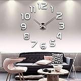 aifengxiandonglingbaihuo Reloj de Pared Grande Pegatina acrílico silencioso Digital Grande 3D DIY Autoadhesivo Reloj de Pared diseño Moderno para Sala de Estar decoración del hogar, Plata, China