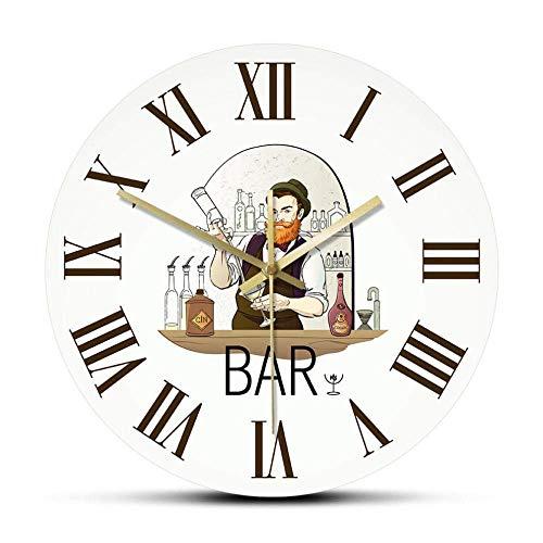 CX High-End Wanduhr Barkeeper Vintage Römische Ziffern Wanduhr Barman Shaker Drink Home Bar Pub Silent Clock Barkeeper Mann Höhle Decor Tapster Geschenk Stummschaltung Spiral-