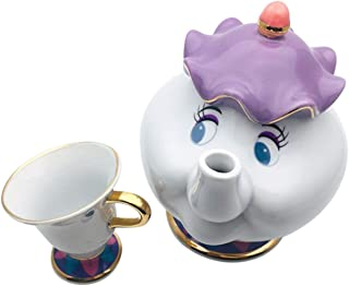 OIUY Nueva Olla de cerámica La Bella y la Bestia Sra. Potts & Chip Tetera y Taza Juego de azúcar Tetera de cerámica esculpida - Colorido