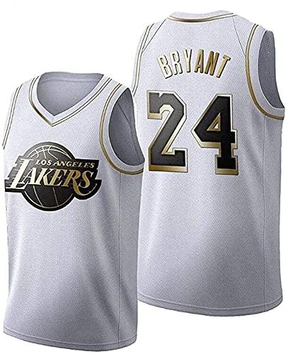 xzl Camiseta de baloncesto Lakers Kobe Bryant #24, camiseta deportiva retro de la NBA, camiseta deportiva para entrenamiento de fitness, correr, ocio, color blanco – XL