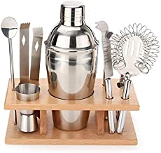 8 Pcs Cocktail Shaker Set with Wood Stand Bar Wine Tools