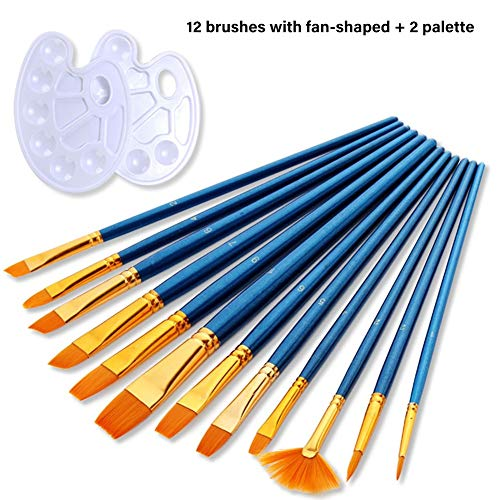 12 Artist Brush with 2 Mixing Palette, Watercolor Nylon Paint Brush Set, Paint Tray Artist Painting Brush Set, Art Painting Tool for Beginners, Children Artist and Painting Lover