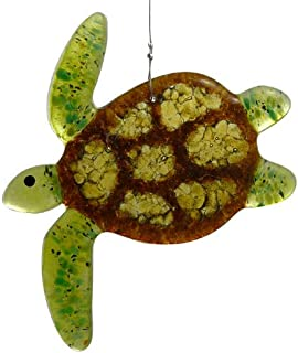 Modern Artisans Sea Turtle Fused Glass Sun Catcher, Handmade in USA