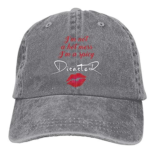 Leumius I'm Not A Hot Mess I'm A Spicy Disaster-4 Sombreros, Unisex Vintage Gorra de béisbol ajustable Clásico Papá Sombrero Trucker Hat, gris, Talla única