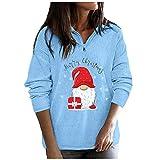 BBRS Sudadera de manga larga con capucha para mujer, con estampado de Feliz Navidad, informal, para mujer, azul, L