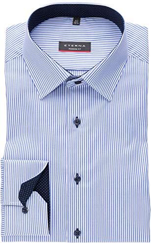 eterna Modern Fit Langarmhemd Citystreifen 8992-16-X14P, Größe 43, Farbe Blau
