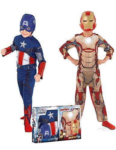 Rubie's-déguisement officiel - Marvel- Déguisement Pour Enfant Bi Pack Avengers Captain America + Iron Man - Taille S- 154716S
