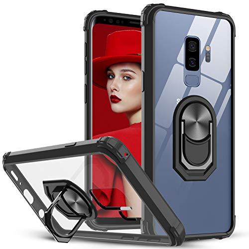 LeYi per Cover Samsung Galaxy S9+ Plus, Trasparente Custodia Rigida Silicone con Anello Magnetica Supporto Difesa Militare Rinforzata Antiurto Bumper per Custodie Originale Samsung S9 Plus Nero